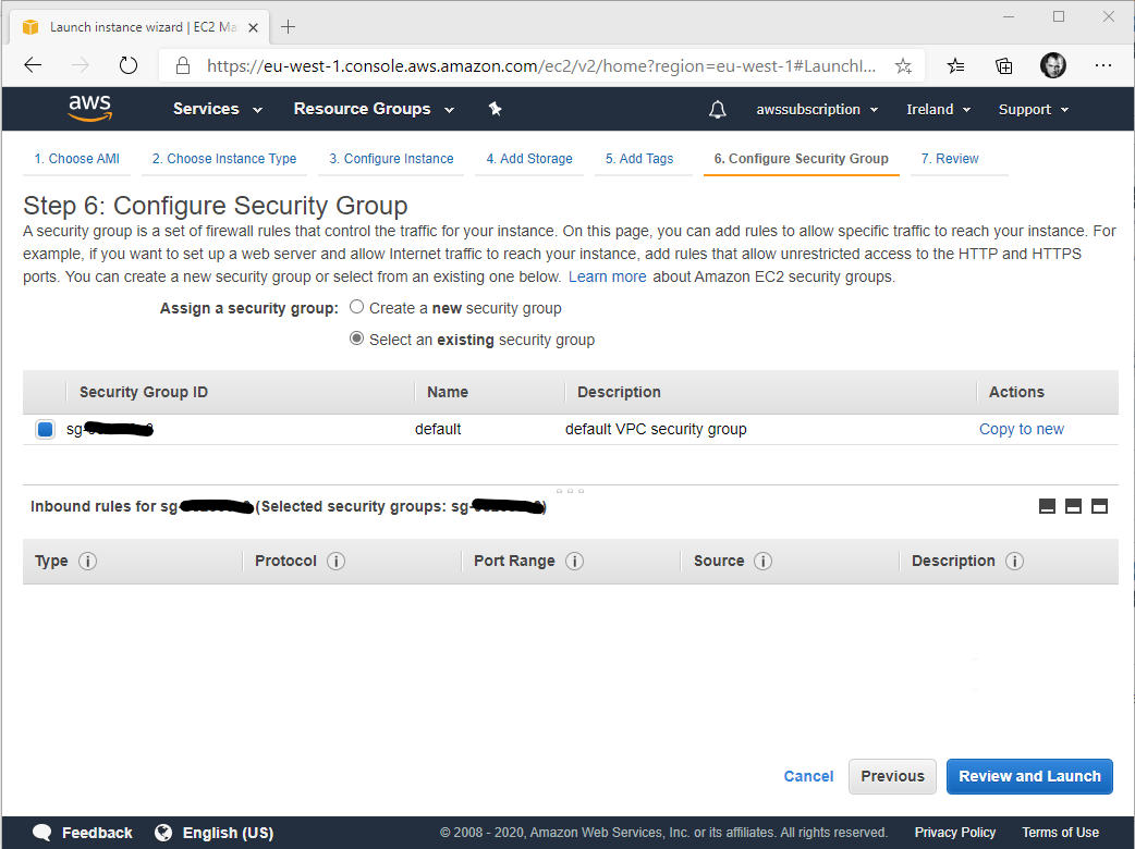 Configurazione del security group per la istanza EC2